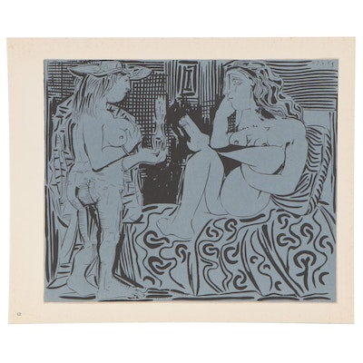 "Pablo Picasso Linoleum Cut ""Two Woman with a Vase of Flowers"""