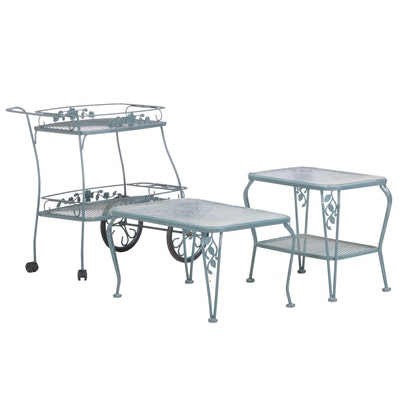 Painted Iron Patio Serving Cart with Glass Top Coffee Table and Side Table