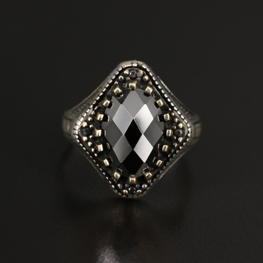 Sterling Silver Cubic Zirconia Ring with Greek Key Patterned Shoulders