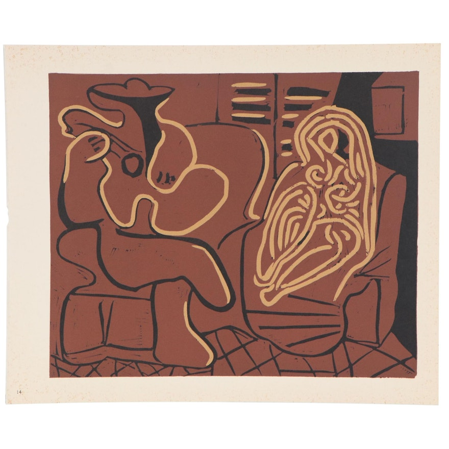"""Pablo Picasso Linoleum Cut """"Guitar Player and Seated Woman,"""" 1962"""