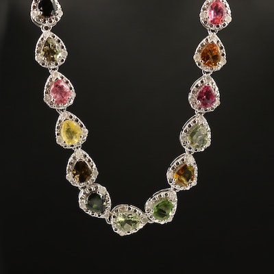Sterling Silver Tourmaline and 1.53 CTW Diamond Link Necklace