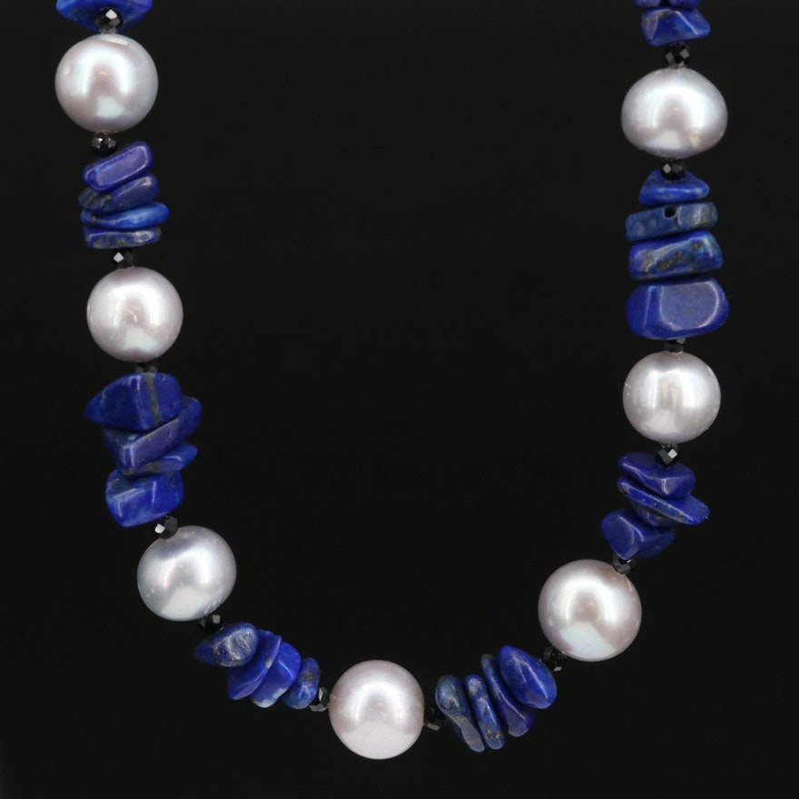 Pearl, Lapis Lazuli and Black Spinel Necklace with Sterling Silver Clasp