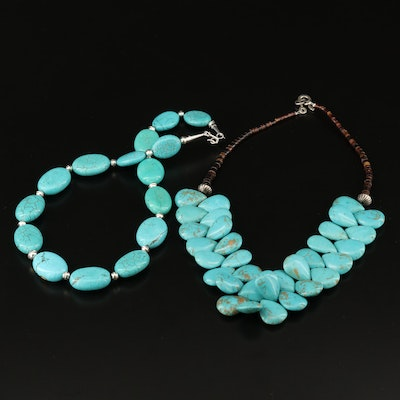 Sterling Necklaces with Horn, Howlite and Turquoise