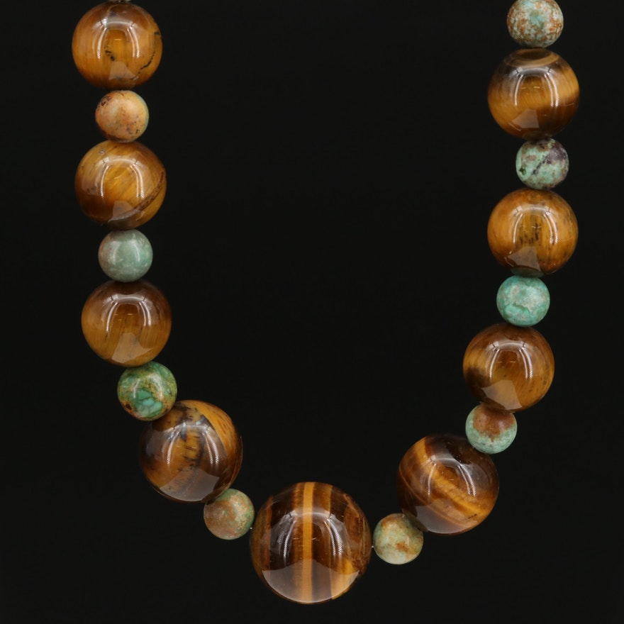 Tiger's Eye and Turquoise Bead Necklace with Sterling Silver Clasp