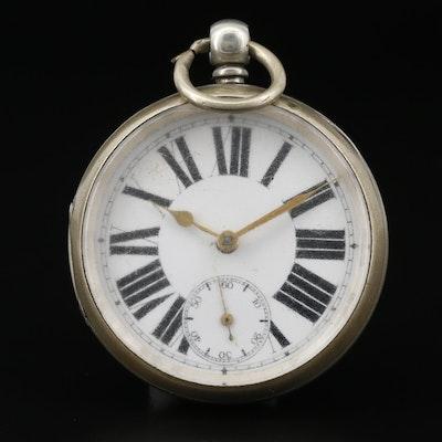 Antique Swiss Key Wind Open Face Pocket Watch