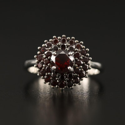 Sterling Silver Double Halo Garnet Ring