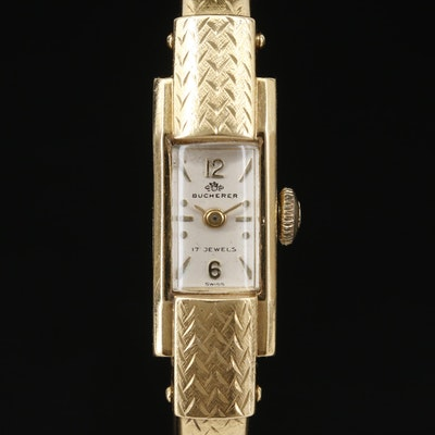 18K Bucherer Cuff Style Stem Wind Wristwatch