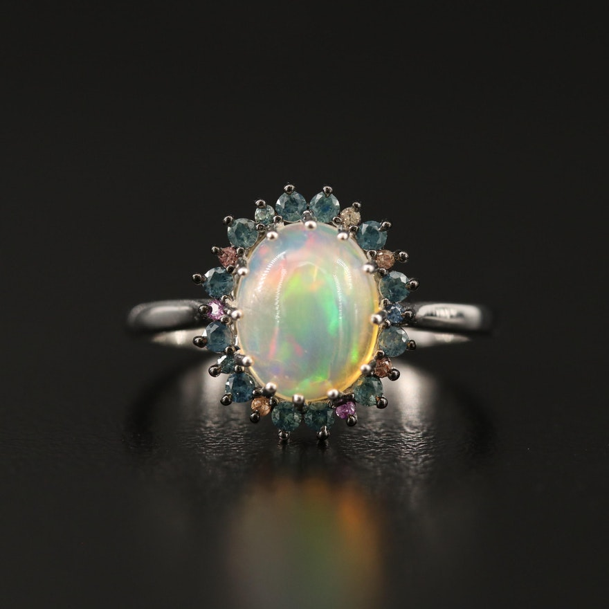 Sterling Silver Opal, Sapphire and Garnet Halo Ring