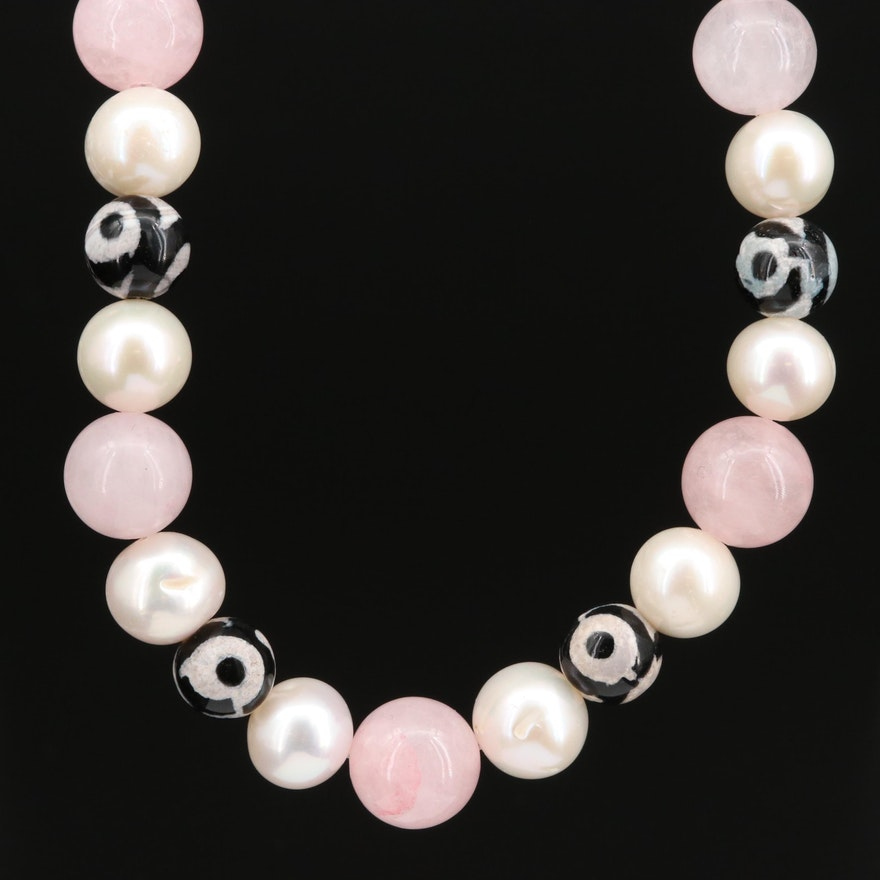Rose Quartz, Pearl and Agate Beaded Necklace with Sterling Silver Clasp