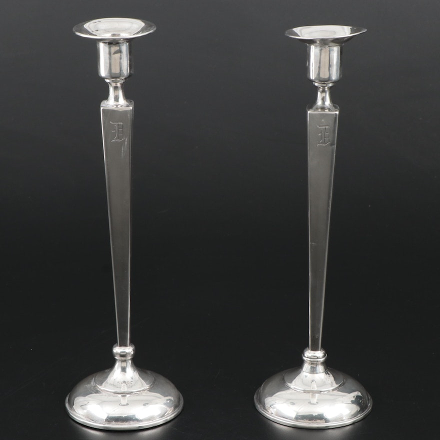 William Nost Co. Sterling Silver Candlesticks, Early 20th Century