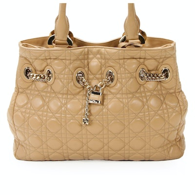 Christian Dior Satchel in Cannage Quilted Lambskin Leather