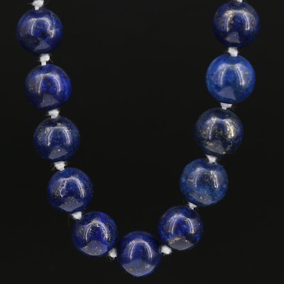 Lapis Lazuli Bead Necklace with Sterling Silver Clasp