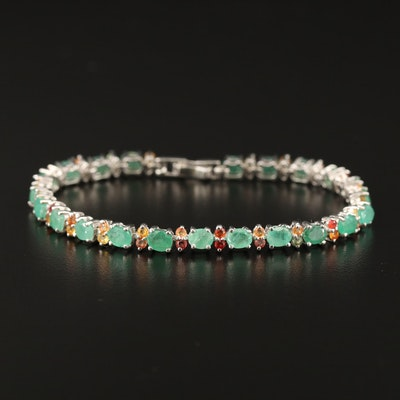 Sterling Silver Emerald and Sapphire Link Bracelet
