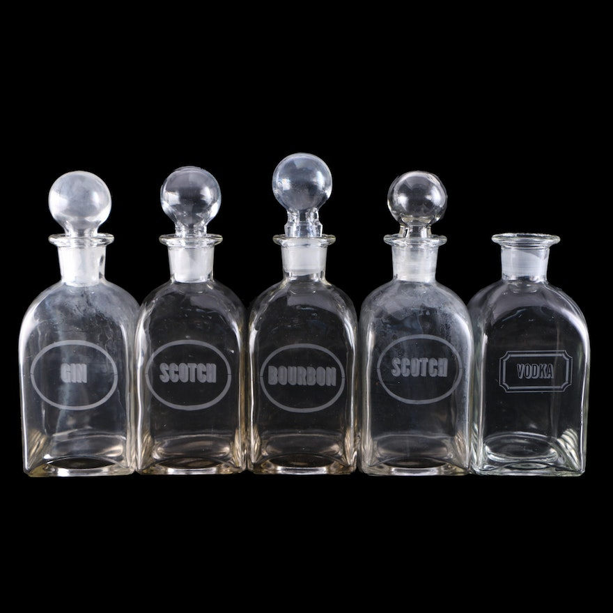 Liquor Decanters with Etched Labels Including Bourbon, Scotch, Gin and Vodka