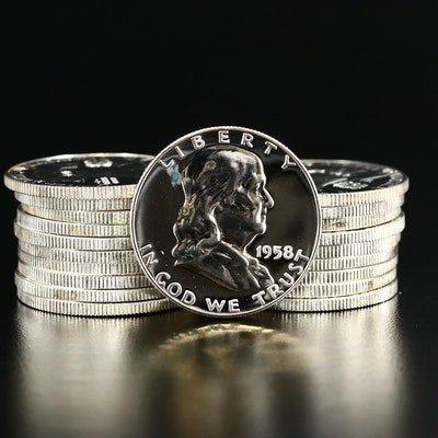 Roll of Twenty 1958 Franklin Silver Proof Half Dollars