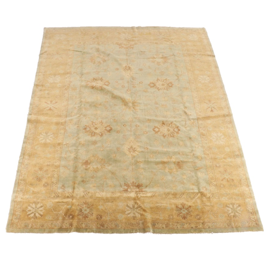 9'2 x 11'10 Hand-Knotted Indian Peshawar Wool Rug