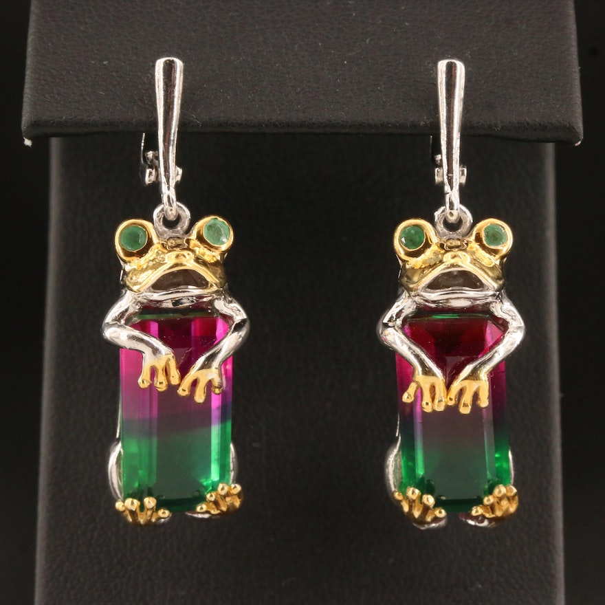 Sterling Quartz Doublet and Emerald Frog Dangle Earrings