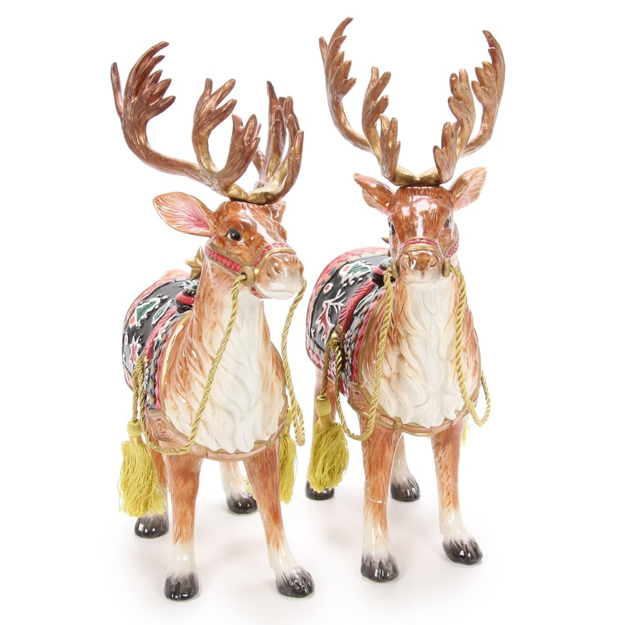 Pair of Fitz and Floyd Christmas Reindeer Candle Holders