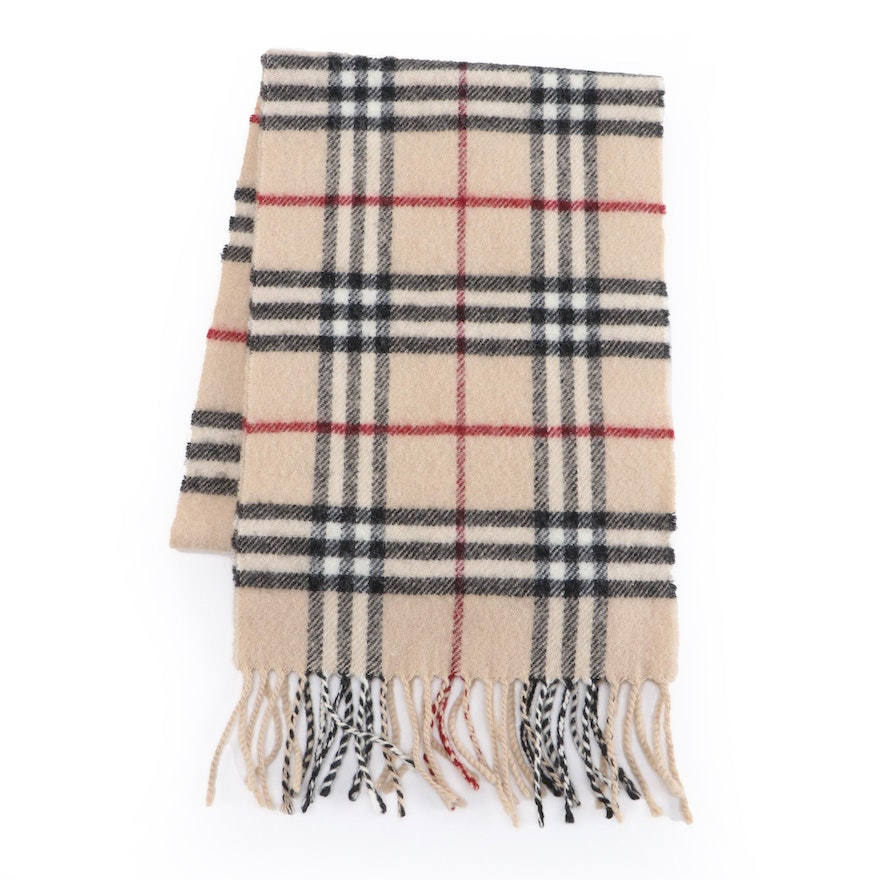 """Burberry """"House Check"""" Lambswool Fringed Scarf"""