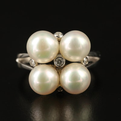 Sterling Silver Pearl Cluster Ring with Diamond Accents