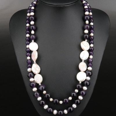Pearl and Beaded Amethyst Necklaces with Sterling Silver Clasps