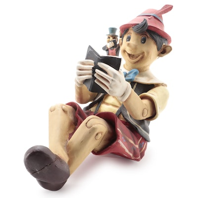 Ceramic Pinocchio and Jimmy Cricket Shelf Sitter