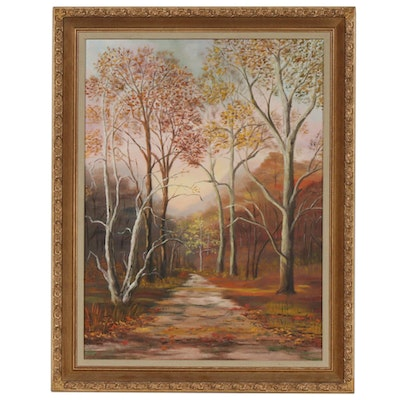 "Mildred Halk Oil Painting ""Autumn's Hollow"", Early to Mid 20th Century"