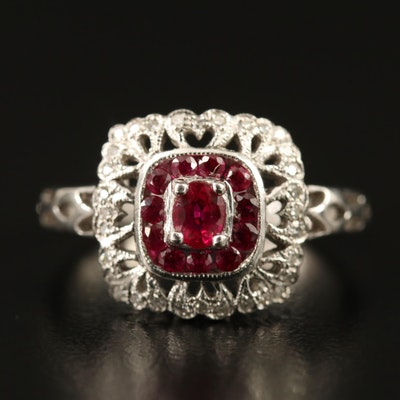 14K Ruby and Diamond Openwork Ring