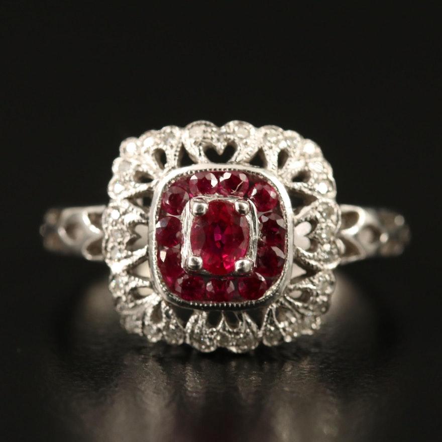 14K Ruby and Diamond Openwork Ring