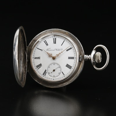 Antique Tavannes 875 Silver Hunter Case Pocket Watch