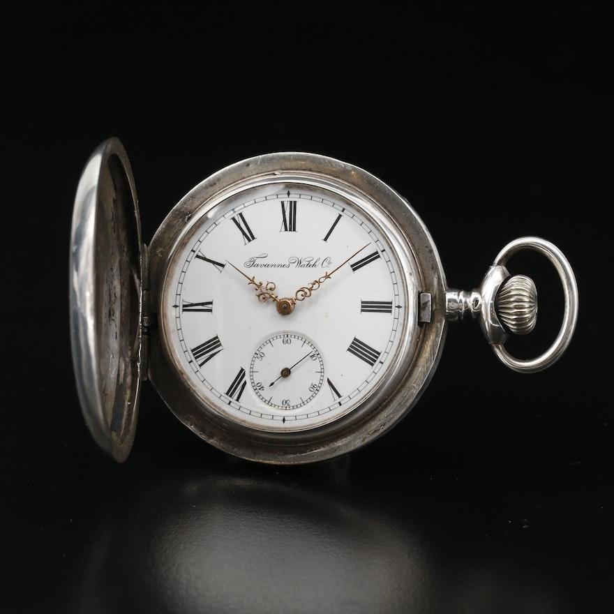 Antique Tavannes 875 Silver Hunter Case Pocket Watch