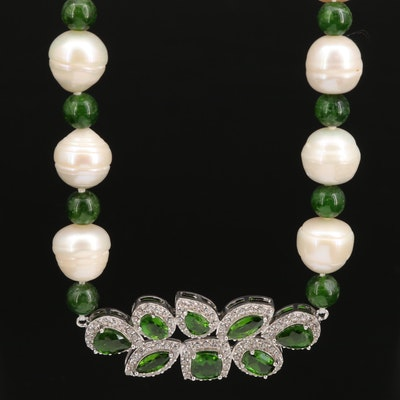 Sterling Silver Pearl, Diopside and Zircon Stationary Pendant Necklace