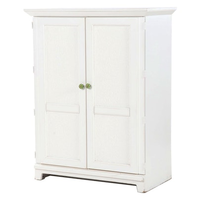 Contemporary Painted White Storage Cabinet