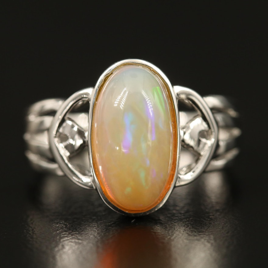 Sterling Bezel Set Opal Solitaire Ring