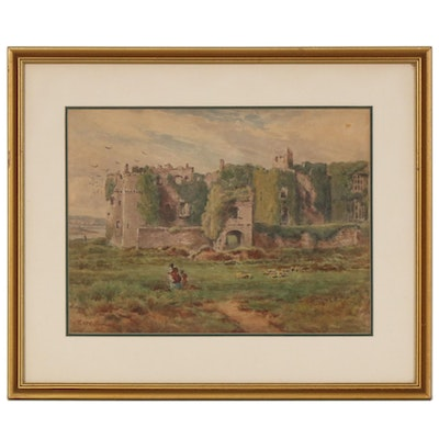 George Westmacott Castle Landscape Watercolor Painting, Early 20th Century