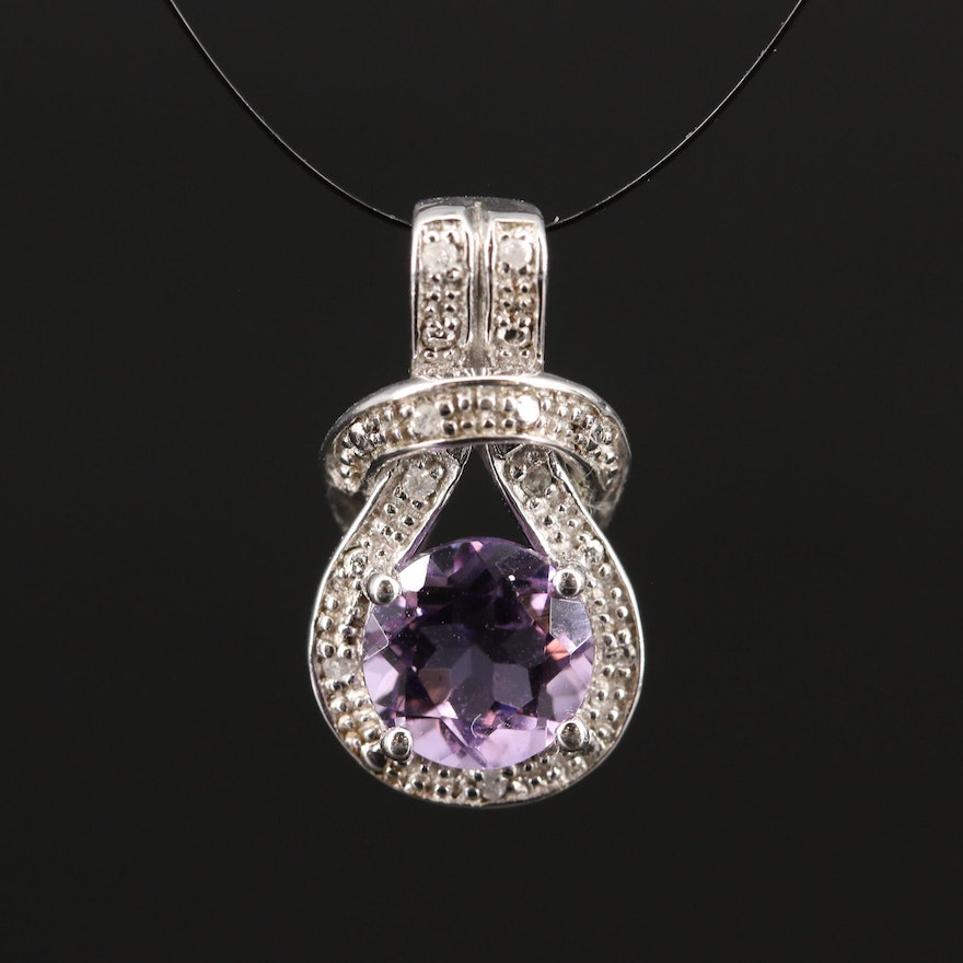 Sterling Silver Amethyst and Diamond Knot Pendant