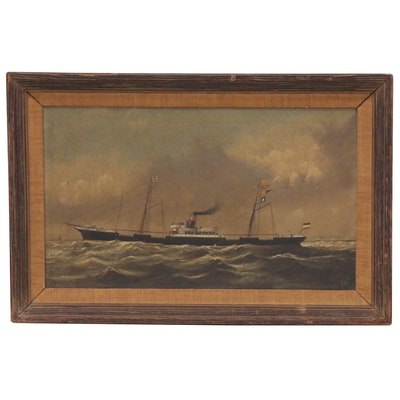 Nautical Oil Painting of French Steamship, Early to Mid 20th Century