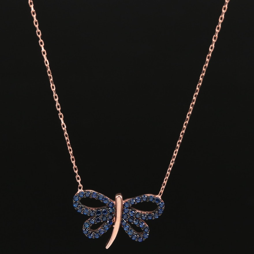 Sterling Silver and Spinel Butterfly Necklace