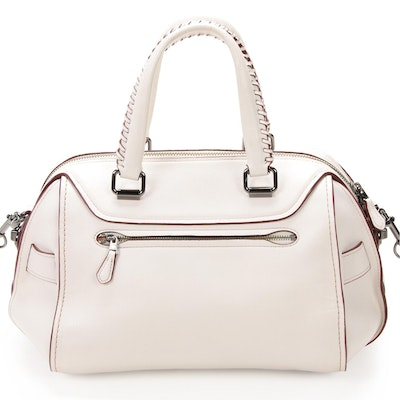Coach Ace Two-Way Satchel in White Leather with Contrast Oxblood Edge
