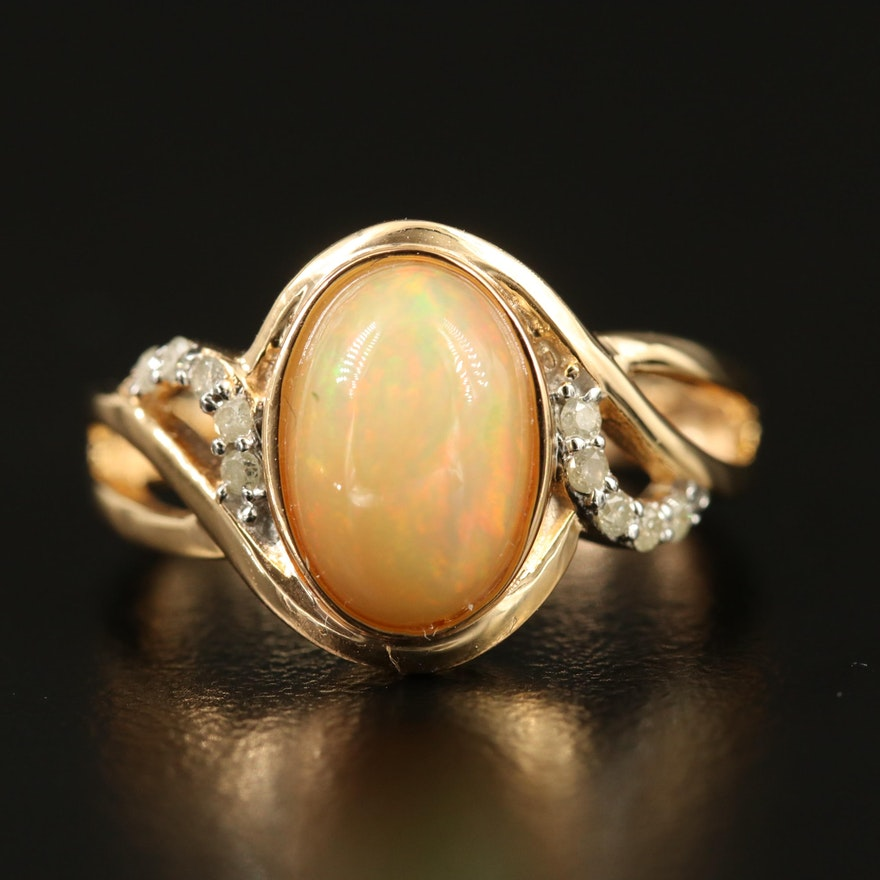 Sterling Common Opal and White Topaz Ring