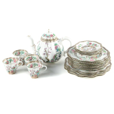 """Coalport Bone China """"Indian Tree"""" Scalloped Plates, Teacups, Saucers and Teapot"""
