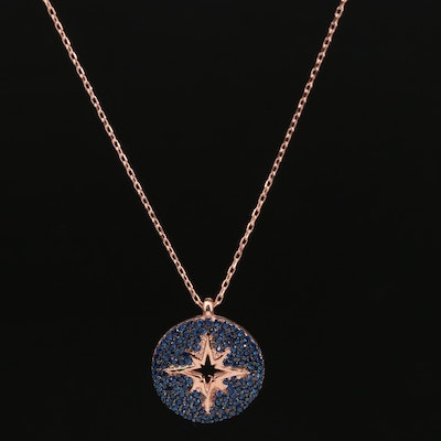 Sterling Silver Pavé Spinel Disk Necklace with Cut Out Star Design