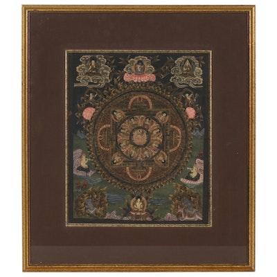 Tibetan Style Thangka Gouache Painting