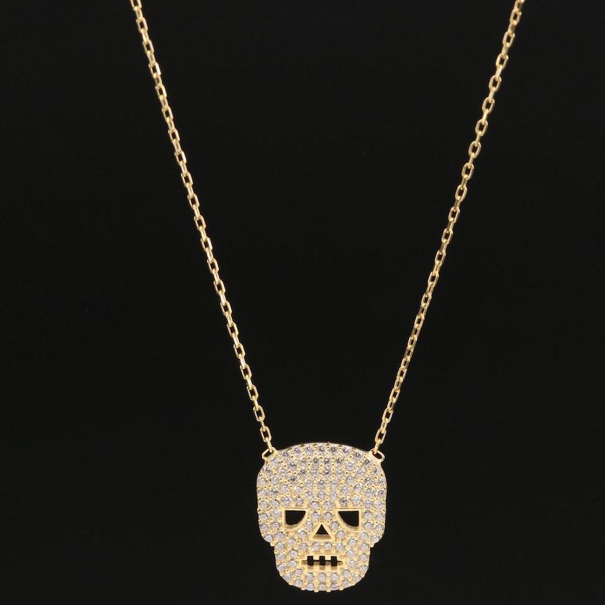 Sterling Silver Pavé Cubic Zirconia Skull Pendant Necklace