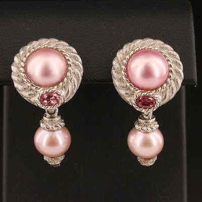 Judith Ripka Sterling Silver Pearl, Pink Tourmaline and Garnet Earrings