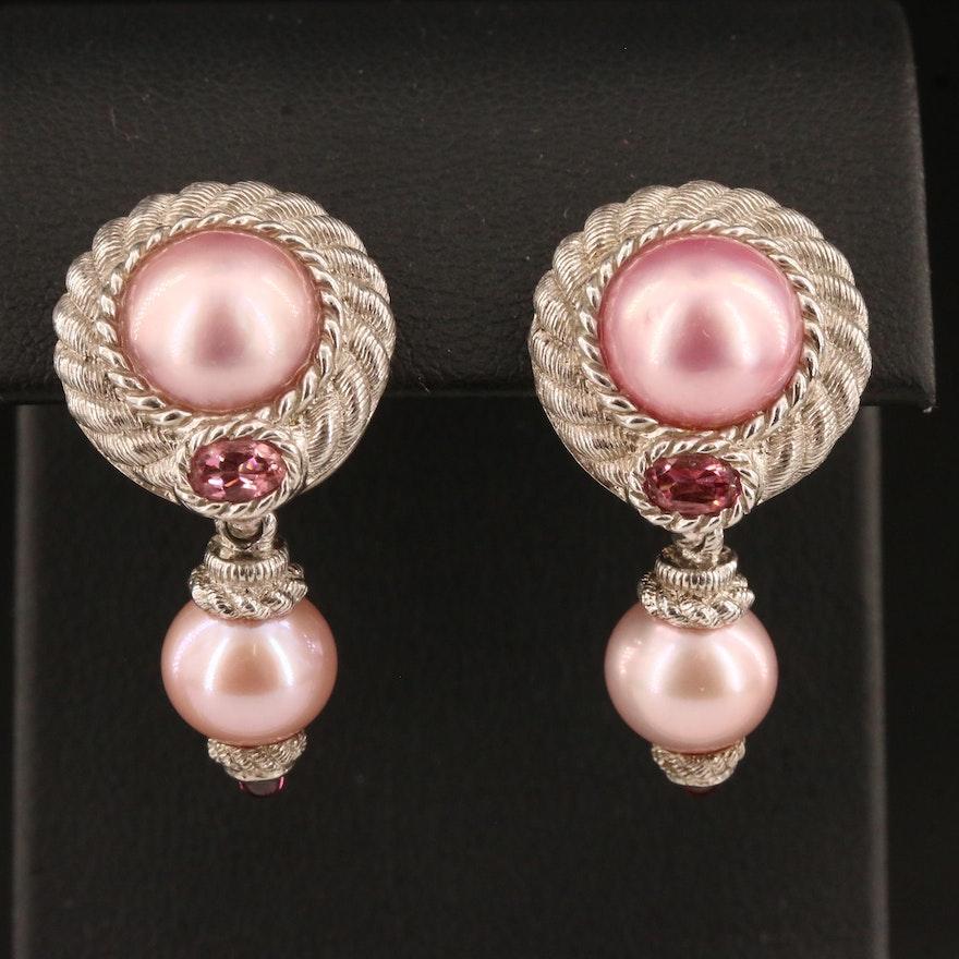 Judith Ripka Sterling Silver Pearl, Pink Tourmaline and Garnet Earrings