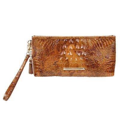 Brahmin Wristlet Clutch in Crocodile Embossed Patent Leather