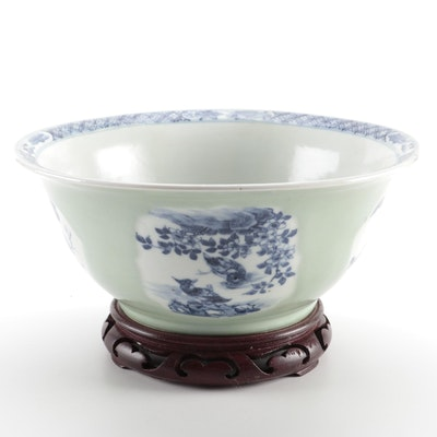 Chinese Celadon Blue and White Porcelain Bowl with Carved Wooden Stand