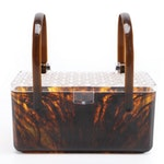 Faux Tortoiseshell Acrylic Box Purse with Faceted Lid, Mid-20th Century