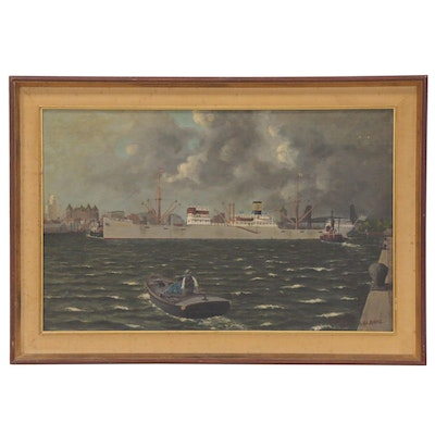 Albany Harbor Scene Oil Painting, 1948